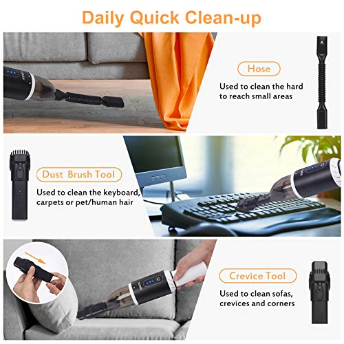 Handheld Vacuum Cordless, XREXS Portable Hand Held Car Vacuum Cleaner with High Power, Rechargeable Mini Vacuum for Home Pet Hair Cleaning, 8000 Pa Strong Suction, Lightweight, Quick Charge