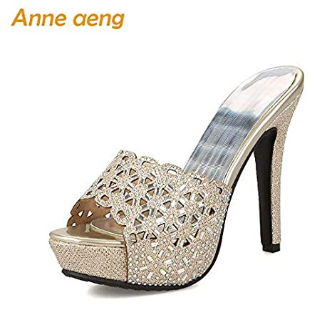 ed6eb2a89bd6 Amazon.com  HuWang 2018 Summer Women Slippers high Thin Heel Platform Mules  Crystals Ladies Outside Gold Silver Shoes  Garden   Outdoor
