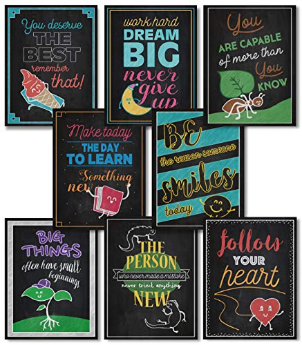 Pomelo Juice Motivational Classroom Posters - Inspirational Quotes Wall Art - Teacher Classroom Decorations - Chalkboard Posters for Kids and Students - Set of 8 13x17 (Chalkboard)