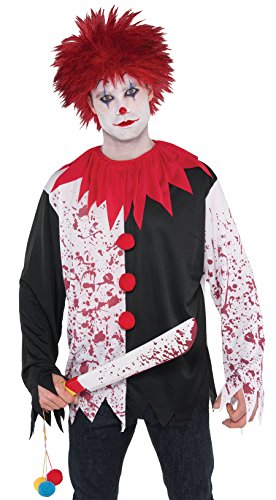 AMSCAN Evil Clown Wig Halloween Costume Accessories, Red, One -