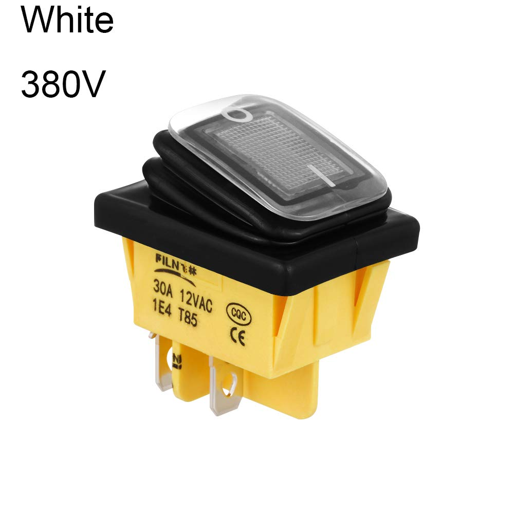 30x22mm IP67 Sealed Waterproof Heavy Duty with LED 6V//12V//24V//36V//110V//220V//380V 4 Pin DPST T85 Toggle Rocker Switch ON-Off