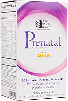 Ortho Molecular - Prenatal Complete with DHA - 30 day supply (6 - 15 capsule and 5 softgel capsule packages)