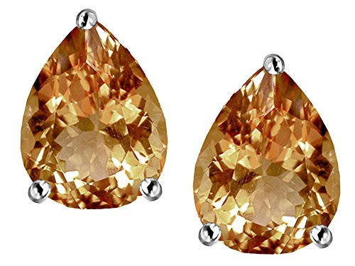 Pear Imperial (Star K Pear Shape 9x7mm Simulated Imperial Yellow Topaz Earrings Studs Sterling Silver)