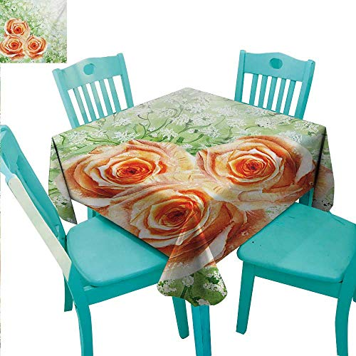 (Watercolor Flower Elegant Waterproof Spillproof Polyester Fabric Table Cover Hand Drawn Old Persian Roses on Grass Perennial Botanic Artwork Print Indoor Outdoor Camping Picnic 60