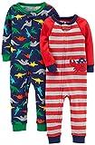 Carter's Baby Boys' 2-Pack Cotton Footless Pajamas, Crab/Dino, 3T