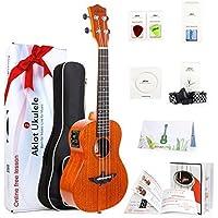 AKLOT Electric Acoustic Concert Ukulele Solid Mahogany Ukelele 23 inch Beginners Starter Kit with Free Online Courses and Ukulele Accessories (AKEC23)