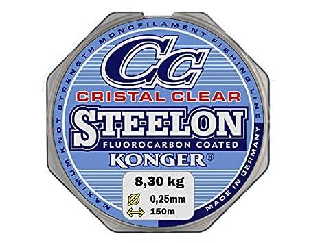 Konger - Filo da pesca Cristal Clear, con rivestimento in fluorocarbonio, 0,12-0,50mm, 150m, monofilo super forte-