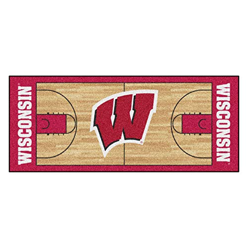 FANMATS NCAA University of Wisconsin Badgers Nylon Face Basketball Court Runner