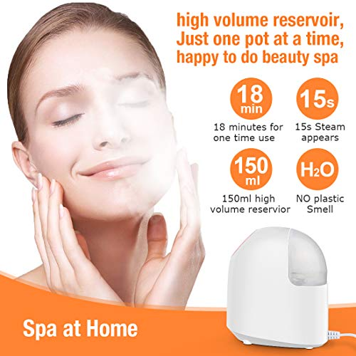 Facial Steamer, Rejuvenate Moisturizing Cleansing Pores for Women, Warm Mist Nano Ionic face steamer for facial with skin cleansing with Home and office