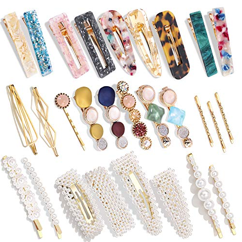 28 PCS Hingwah Pearls and Acrylic Resin Hair Clips, Handmade Hair Barrettes, Marble Alligator bobby pins, Glitter Crystal Geometric Hairpin, Elegant Gold Hair Accessories, Gifts for Women Girls