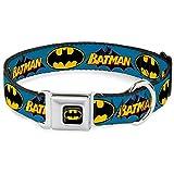 Buckle Down Seatbelt Buckle Dog Collar - Vintage Batman Logo & Bat Signal Blue - 1.5'' Wide - Fits 16-23'' Neck - Medium