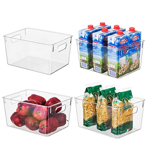 EAMAOTT Clear Plastic Storage Organizer Container Bins with Cutout Handles, Transparent Set of 4, BPA Free, Cabinet…