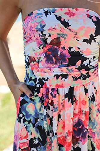 Abbigliamento Giorno Ragazza Donna Spiaggia Vintage Estivi Mare Bandeau Spalline Lungo Eleganti Vestiti Vestito Lunghi Abito Bianca Da Maniche Moda Senza Chic B hmische Floreali wP1dAq