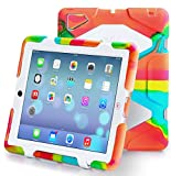 TRAVELLOR [Heavy Duty] iPad Case, Three Layer Armor Defender And Full Body Protective Case Cover With Kickstand And Screen Protector for iPad 2/3/4 - Green/White