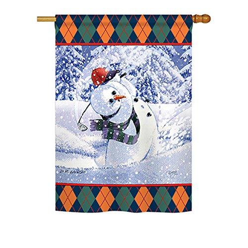 (Breeze Decor H114119 Snowman Golf Winter Wonderland Decorative Vertical House Flag, 28