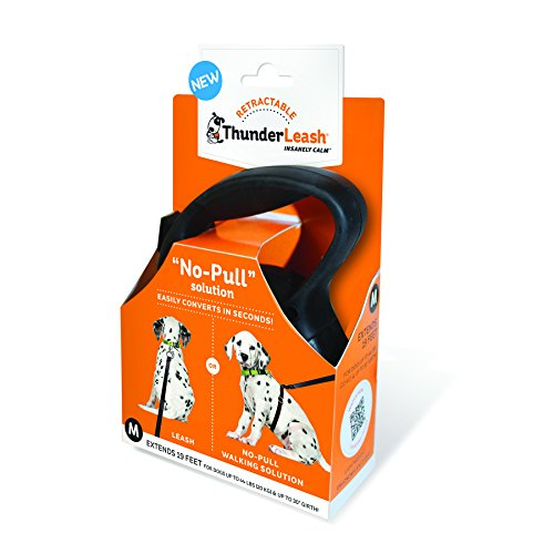 ThunderLeash No-Pull Dog Leash Retractable, Black, Medium