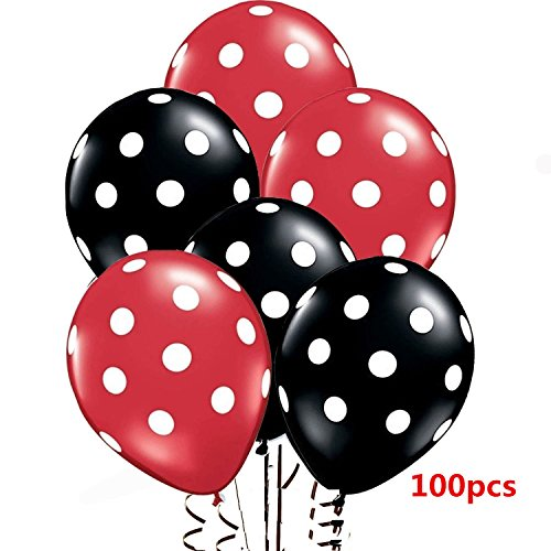WISWIS 2017 12'' Assorted Red and Black Balloons with White Polka Dots Latex Balloons for Parties, Birthdays, and Events - 100 (Latex Dots)