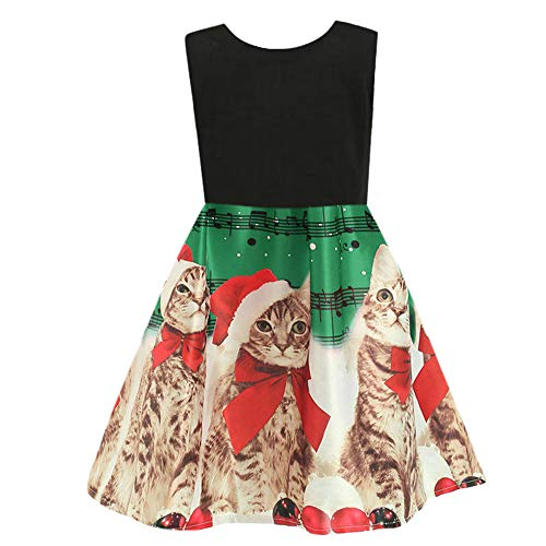 One Playsuit (Christmas Toddler Newborn Kids Baby Girls Dress Clothes Romper Cartoon Cat Printed Playsuit Sleeveless Outfits (Green, 100))