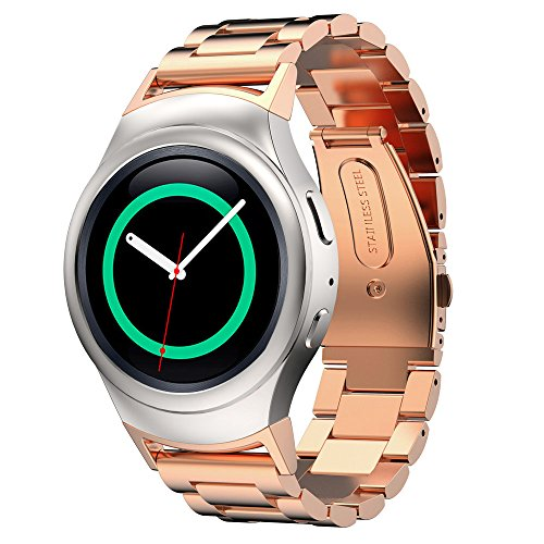 D.B.MOOD Stainless Steel Watch Band with Connector for Samsung Gear S2 RM-720 Rose gold