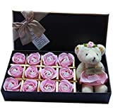#5: Rosesoap 2015 Hot Sales,12Pcs/Box Romantic Rose Soap Flower With Little Bear, Great For Valentine's Day Gifts/ Wedding Gift/birthday Gifts (pink)