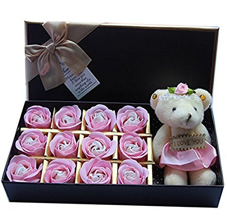Rosesoap 2015 Hot Sales,12Pcs/Box Romantic Rose Soap Flower With Little Bear, Great For Valentine's Day Gifts/ Wedding Gift/birthday Gifts - Hot For Valentine Her Gifts
