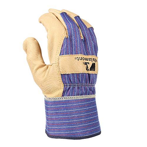 Wells Lamont 3300 Heavy Duty Grain Leather Work Gloves with Safety Cuff, Size Medium 3 Pair (Cuff Grain)