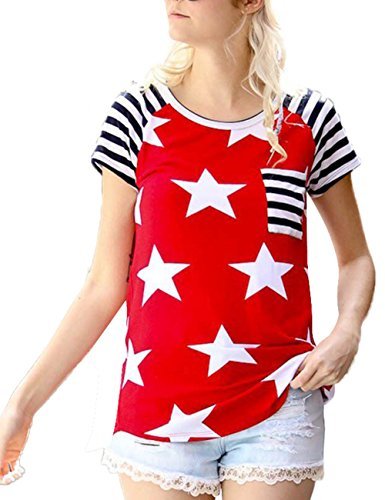 Independence Day Womens Casual Print T-Shirt American Flag Tops Short Sleeve Blouse Tee Red
