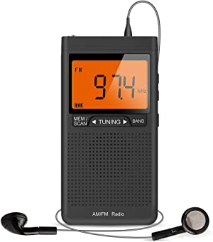 AM FM Portable Radio with Best Reception, Pocket Transistor Radio with Big Digital Screen, Stereo Earphone Jack, Sleep Timer and Alarm Clock Operated by 2 AAA Batteries for Jogging, Walking