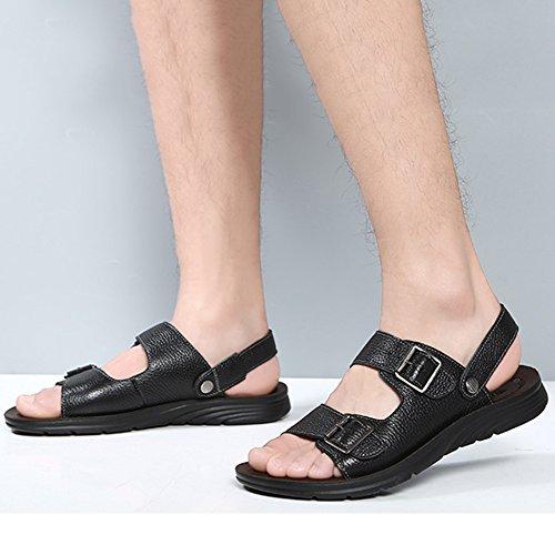 In On Black Uomo Da Spiaggia Pantofole Vera A Escursioni Pelle Scarpe Aperte Slip Piedi Sandali Atletici MERRYHE awEUq0Xq