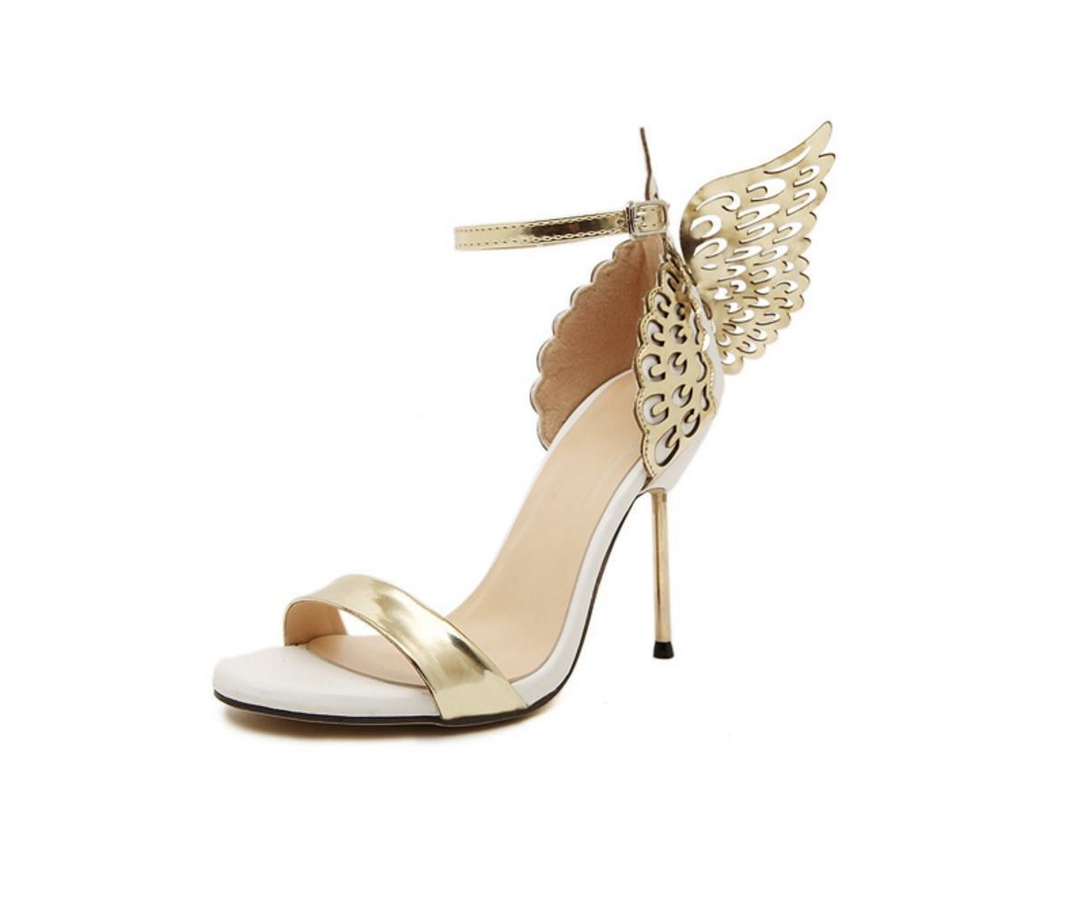 WSK Mme Heels talon sandales en trois dimensions papillon ailes d'ange chaussures Open Toe chaussures mot boucle à talons fins avec des chaussures pour femmes WSKY
