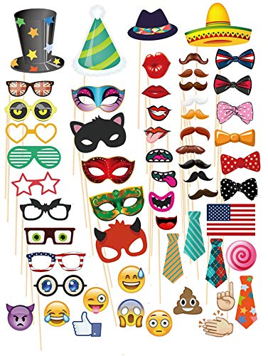 MoreTeam 58 PCs Photo Booth Props with Emoji for Dress-UP, DIY Kit, Wedding, Birthday, Party Decorations, Durable]()
