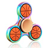 Gemini Metal Fidget Spinner Toy [3D Figit] Helps Focusing, Stress Reducer/Relief Perfect For Boredom EDC ADD ADHD Anxiety and Autism for Adult & Children, Quiet Bearing (Basketball)