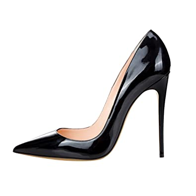 Women's Black Patent high heeled shoes Size 5