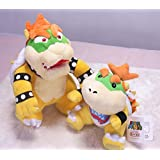 "Super Mario 6.5"" Bowser Jr. And 10"" Standing Bowser Koopa King Character Stuffed Plush Toy Figure Kids Gift"