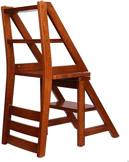 MultifuncióN Estante Almacenamiento Baldas Taburetes de escalera Taburete de escalera 4 peldaños Taburete de madera plegable y liviano de madera negra Peldaño de escalera de tijera multiusos for la bi: Amazon.es: Hogar