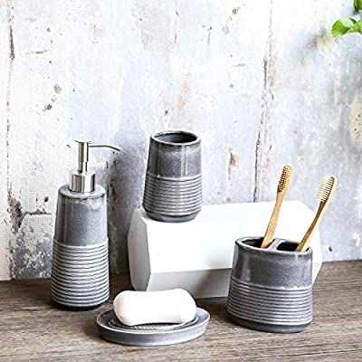 Tenforie Ceramic Bathroom Accessories Set, 4-Piece Bath Accessory Completes with Soap/Loquid Dispenser, Toothbrush Holder, Tumbler, Soap Dish, Ideas Home Gift for Ware Home Decor Bath - ❤ DESIGN: Adding the beautifully painted Bathroom Set can change your bathroom look and could add a subtle, modern, and clean accent to your space. Bathroom Set Material: Ceramic Stainless Steel pump, Durable And Easy-To-Clean Plastic. ❤ BATHROOM ACCESSORIES INCLUDES - 1 Tumbler Cup - 4 x 3 x 3 inch, 1 Toothbrush Holder - 4 1/4 x 4 x 2 1/2 inch, 1 Lotion Dispenser - 8 1/2 x 3 x 3 inch, 1 Soap Dish - 5 1/4 x 3 1/4 x 1 inch. ❤ FUNCTION - Decorate Your Bathroom, They Could Assist In Protecting Your Surface, Keep Your Bathroom Clean, Tidy And Orderly. Perfect for organizing your bathroom counter top. Premium grey stripe design make this accessory luxury, add a beautiful decoration touch to your home. - bathroom-accessory-sets, bathroom-accessories, bathroom - 5164N2ULE7L. SS400  -