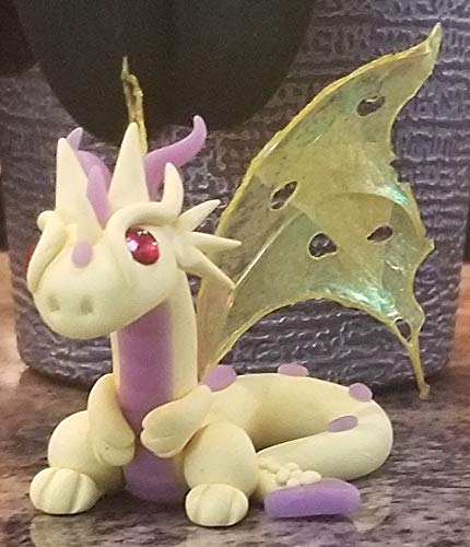 - Sunshine Yellow Dragon - statue, sculpture, polymer clay, unique gift, fantasy, creature, medieval, personalized, Dungeons and Dragons
