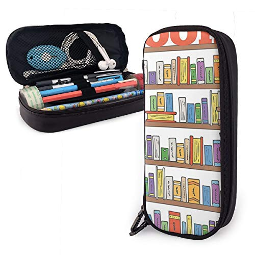 ROCKSKY Polyester Pens Pencil Case with Zipper, One Pocket Pen Organizer for Office Supply Accessories for Teen Student Kids Painter, Modern Library Bookshelf with A Ladder Pencil Pouch Bag ()