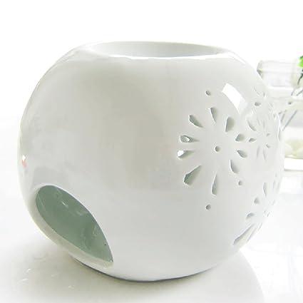 DEBON Creative milchweiße Aromalampe aus Keramik mit Blumenmuster als Diffusor für ätherisches Öl, für Teelichter geeignet (C