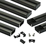 Muzata Black LED Channel System with Crystal Smoke Black Transparent Diffuser Clear Cover Lens,Aluminum Extrusion Track Housing Profile for Strip Tape Light with Video Guide,6Pack 3.3ft/1M U U1BB