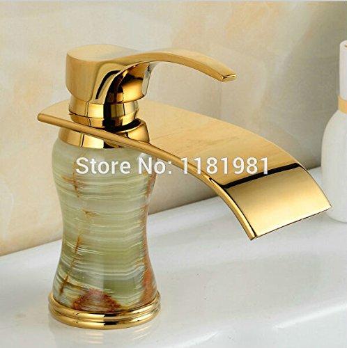 U-Enjoy Gold Überzogen Luxus Top-Qualität Einzelner Loch-Grün Körper Made In Natur Jades Badezimmer-Wasserfall-Hähne [Kostenloser Versand]