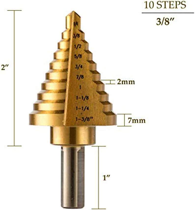 lecimo 1//4-1 3//8 Metal Step Drill HSS Steel Titanium Cone Bit Hole New