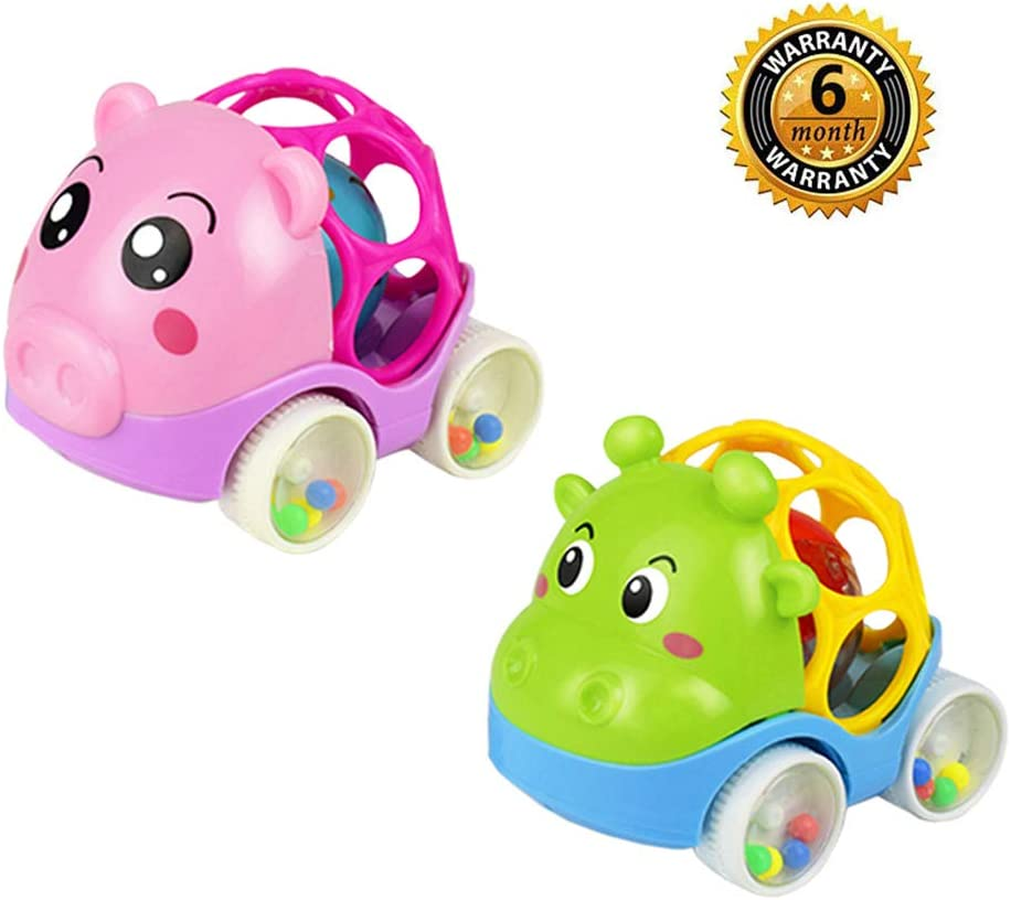 ZHFUYS Rattle & Roll Car,2 Pack Soft Rubber Rattle car 4.5 inch Cute Infant Hand Push Toy car (2 Pack-02)