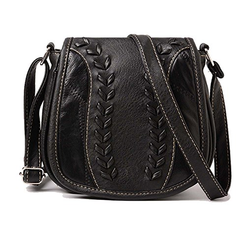 Cyber Deals Monday Deals Sales 2018-Handicrafts Women's Saddle Bag Vintage Style Genuine Leather Cross Body Shoulder Bag Handmade Purse for Women (Black)