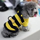 Dogs Pets Clothing Clothes Cute Fleece Bumble Bee Lovely Wings Dog Cat Pet Costume Apparel Coat
