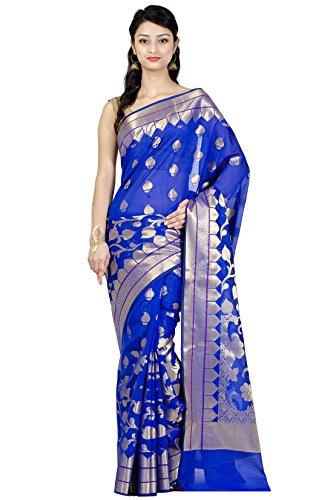 (Chandrakala Women's Blue Cotton Silk Blend Banarasi Saree,Free Size(1133BLU))