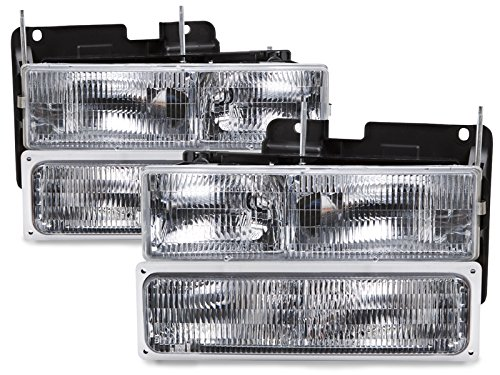 HEADLIGHTSDEPOT Chrome Housing Halogen Headlights Compatible with Chevrolet GMC Blazer Silverado C/K 1500 2500 3500 Suburban HD Chevy Pickup JIMMY/YUKON 150 Includes Left and Right Side Headlamps