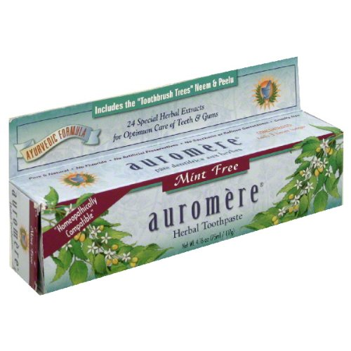 Auromere Mint-Free Ayurvedic Formula Toothpaste 4.16 oz. (Pack of 5)