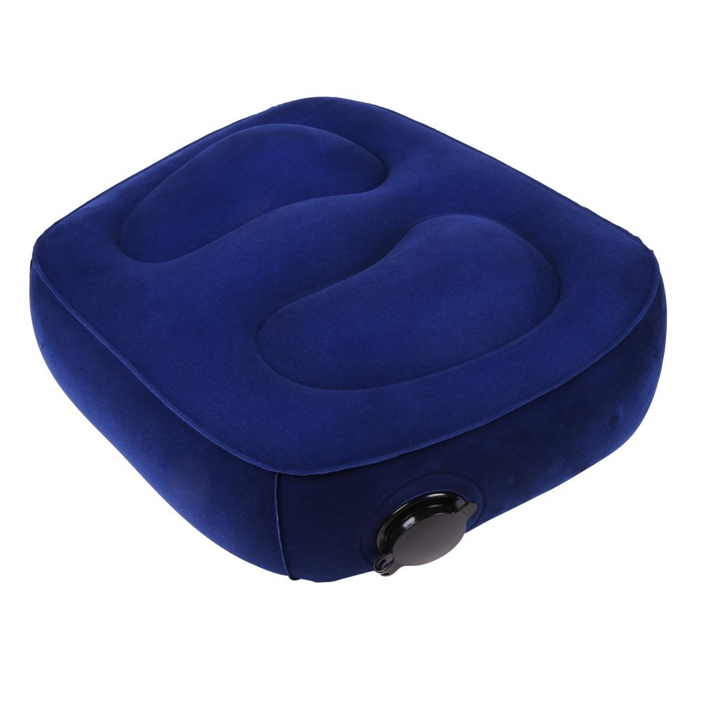 Novbe Travel Foot Rest Pillow Inflatable Large Valve Pillow Kids' Bed to Lay Down for Foot Rest on Airplanes, Cars,Trains (blue)