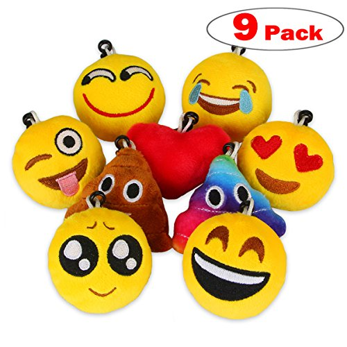Dreampark 9 Pack Emoji Keychain, Mini Plush Pillows, Emoji decorations, Emoticon pillow, Kids Party Favors Supplies, Idea Gifts for Festival, 2